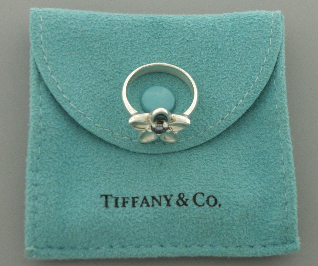TIFFANY & Co. STERLING SILVER LADIES IOLITE FLOWER RING