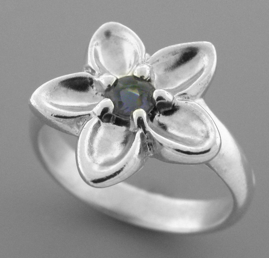 TIFFANY & Co. STERLING SILVER LADIES IOLITE FLOWER RING - 2