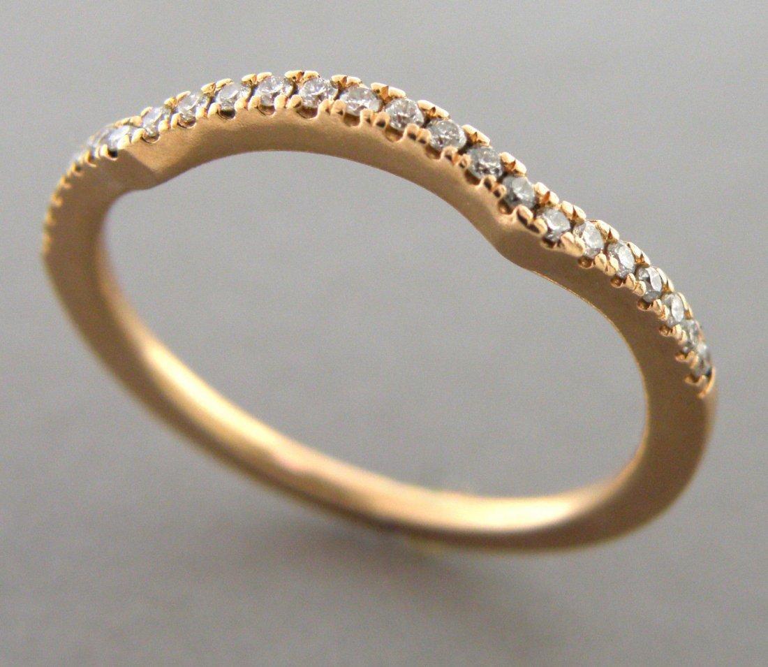 14K ROSE GOLD LADIES DIAMOND CURVED RING WEDDING BAND
