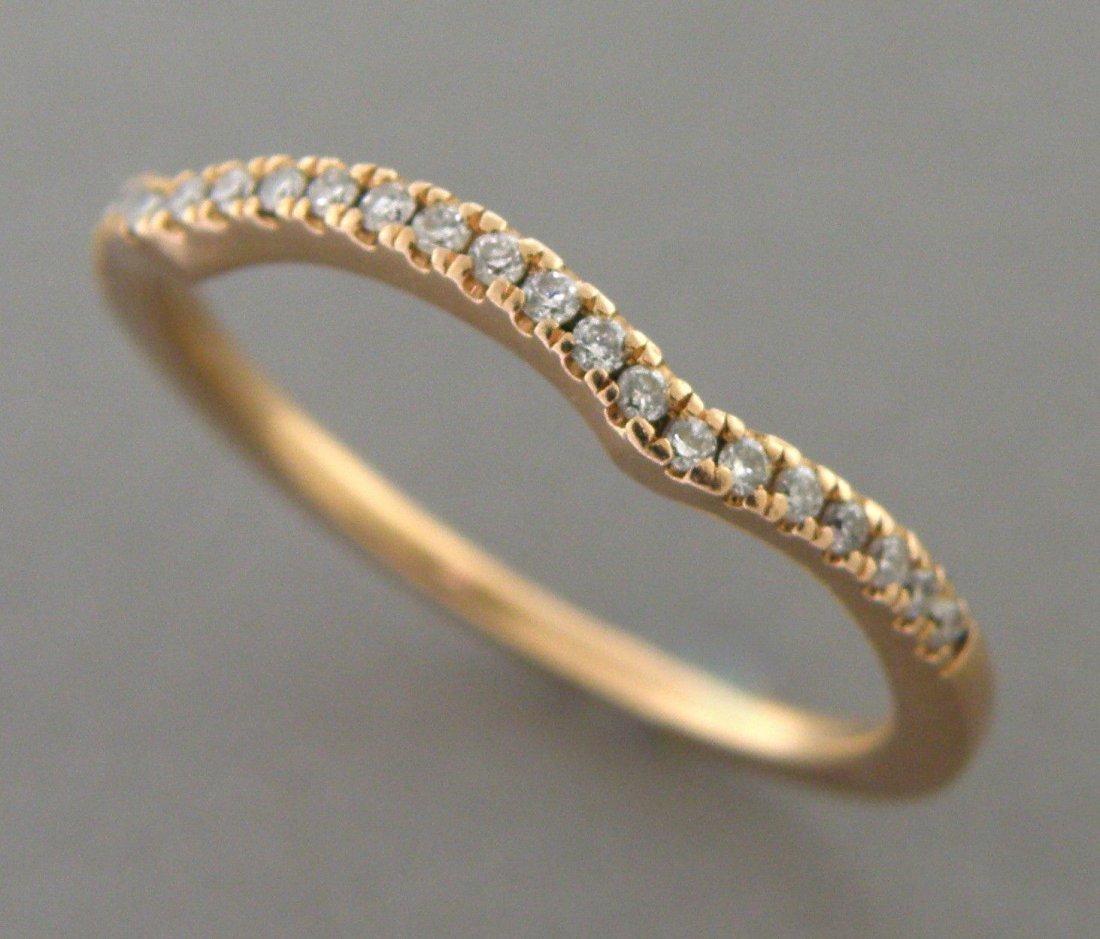 14K ROSE GOLD LADIES DIAMOND CURVED RING WEDDING BAND - 2