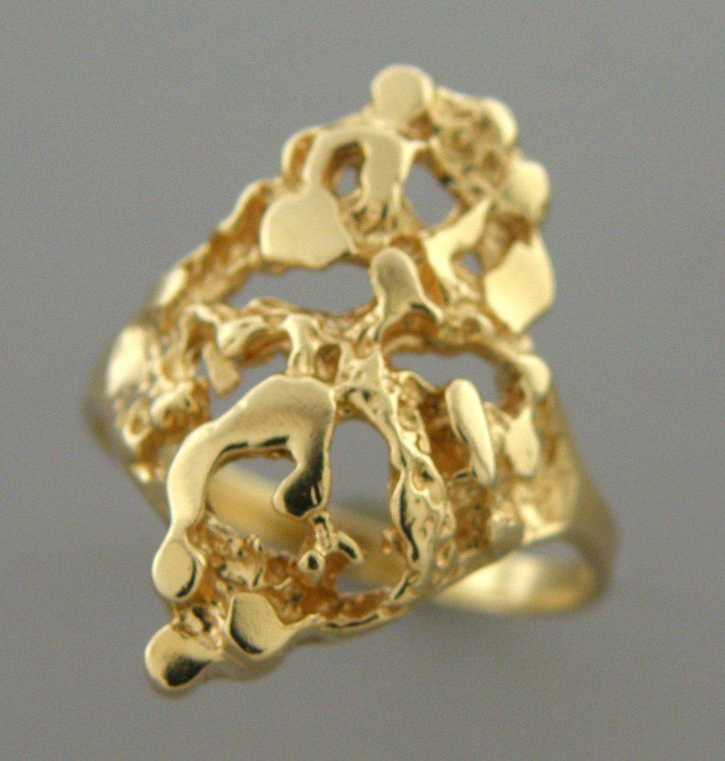 VINTAGE 14K YELLOW GOLD LADIES NUGGET RING