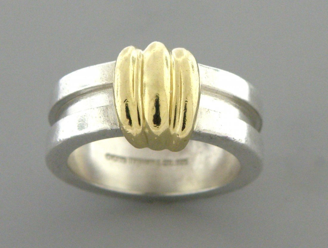 TIFFANY & Co. 18K GOLD STERLING SILVER BAND RING SIZE 5