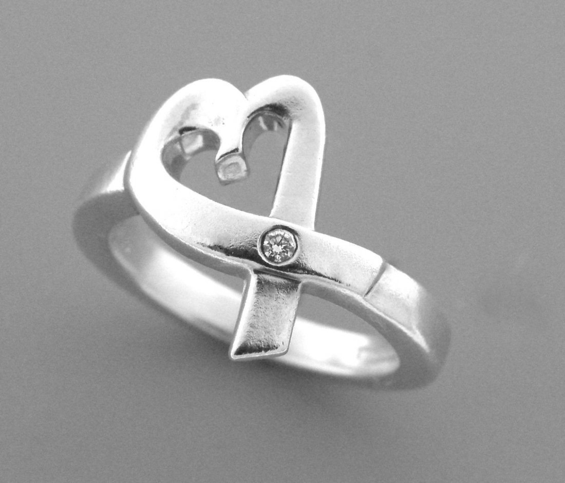 TIFFANY & Co. STERLING SILVER LOVING HEART RING - 2