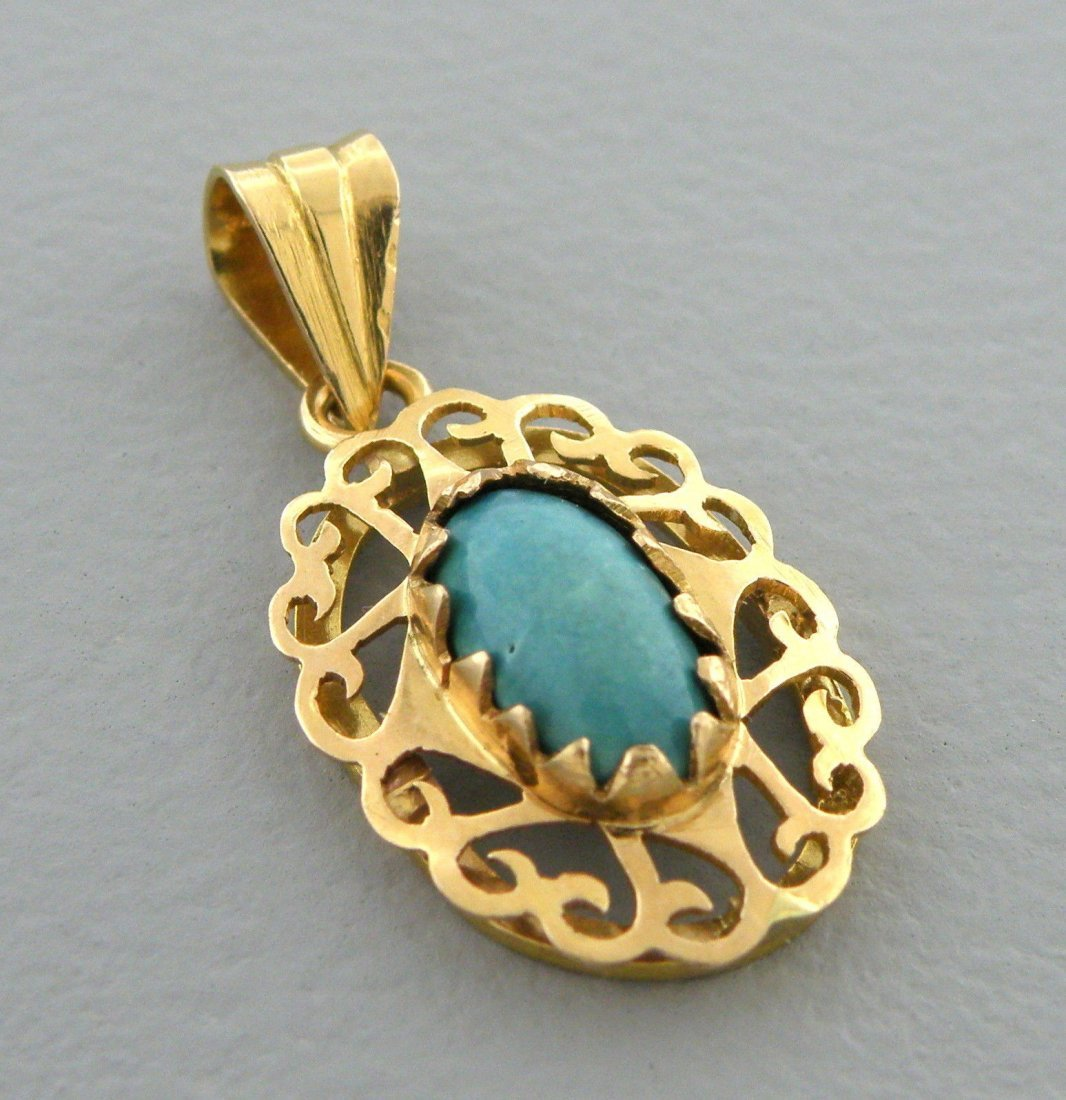 VINTAGE 18K YELLOW GOLD TURQUOISE SLIDE PENDANT