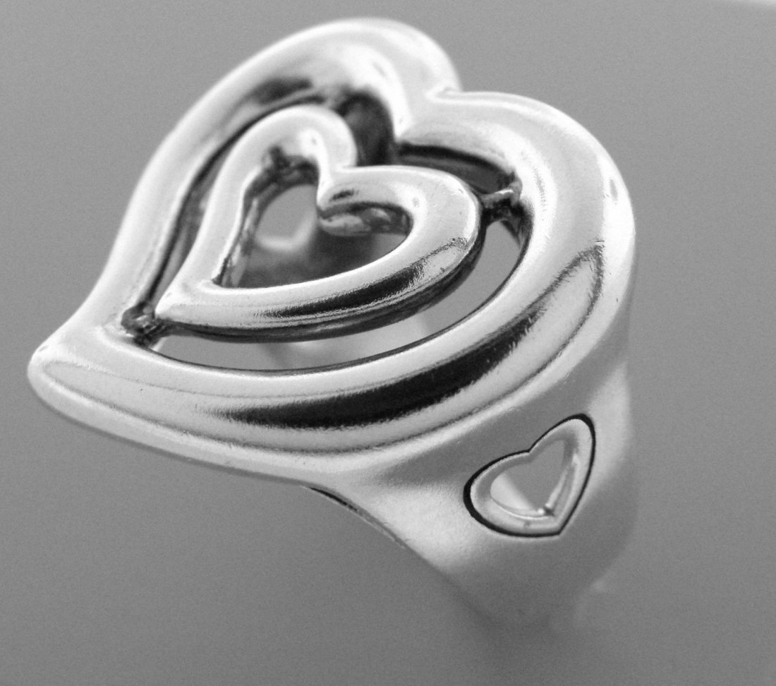 KIESELSTEIN CORD LARGE LADIES DOUBLE HEART RING