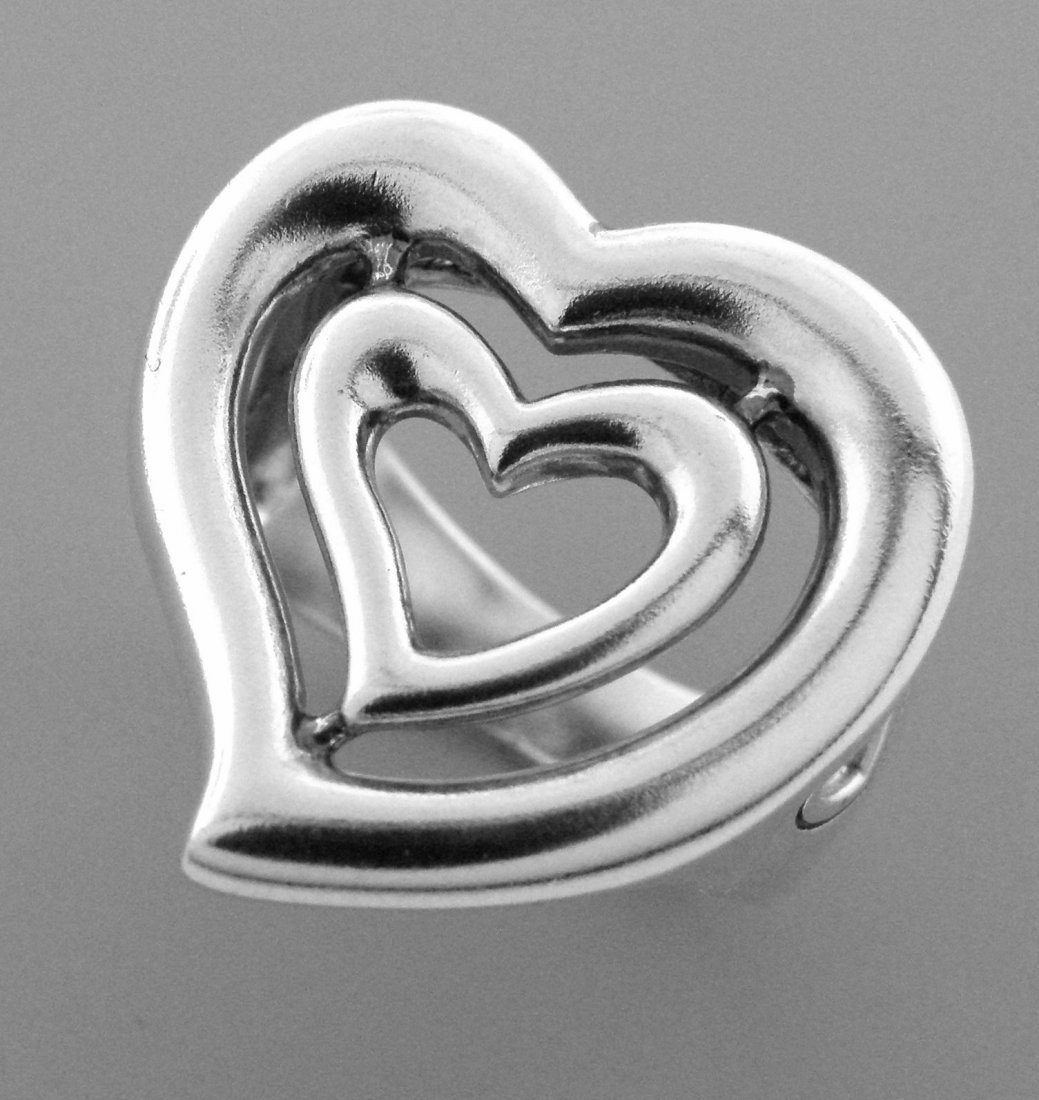 KIESELSTEIN CORD LARGE LADIES DOUBLE HEART RING - 2