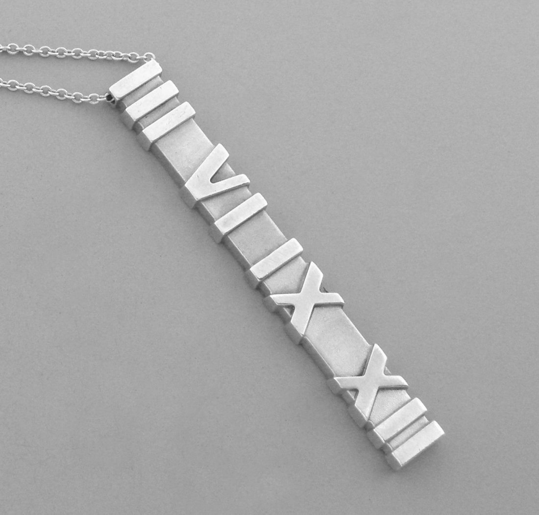 TIFFANY & Co. STERLING SILVER ATLAS MATTE BAR NECKLACE - 2