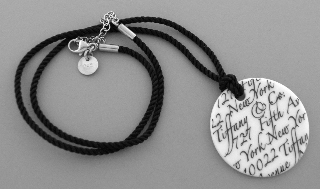 TIFFANY & Co. STERLING SILVER BONE NOTES CORD NECKLACE - 2