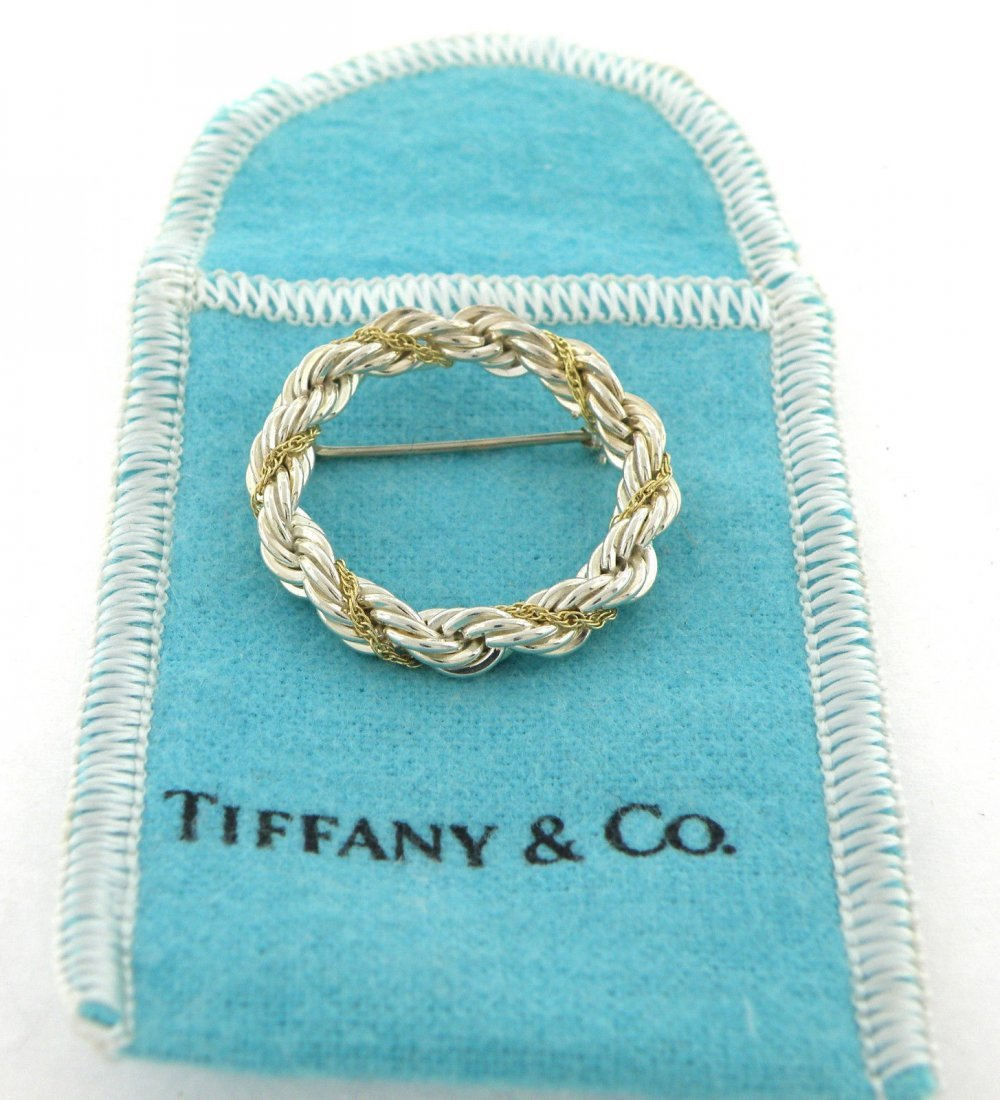 TIFFANY & Co. 18K GOLD STERLING SILVER CIRCLE ROPE PIN