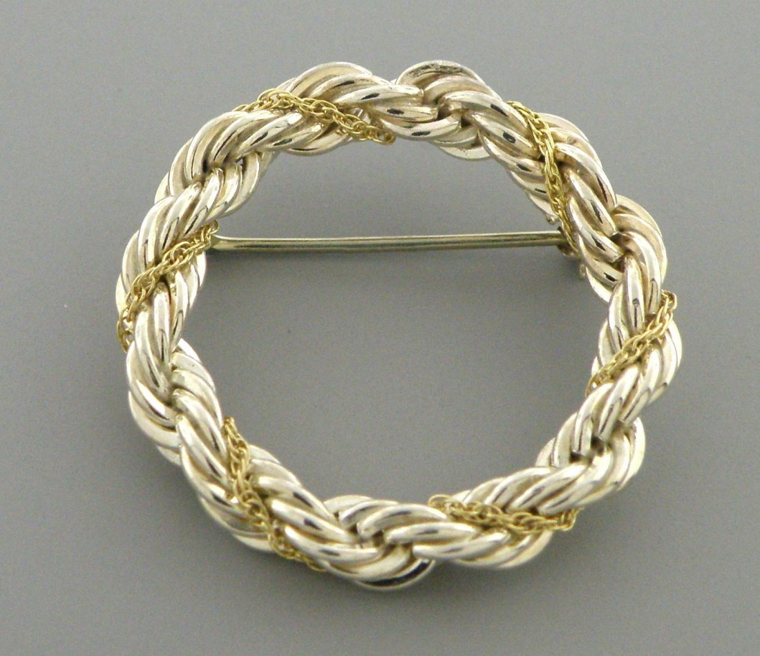 TIFFANY & Co. 18K GOLD STERLING SILVER CIRCLE ROPE PIN - 2