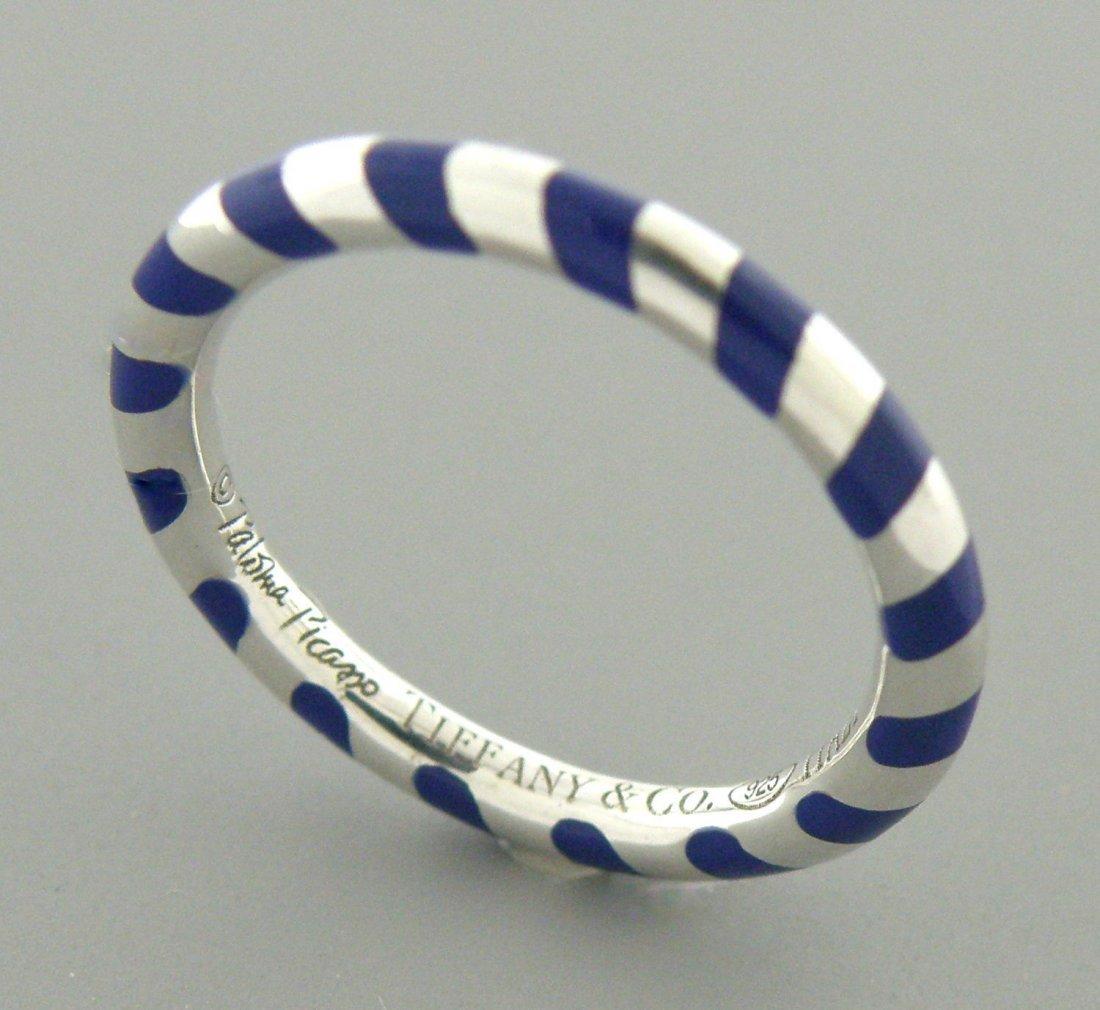 TIFFANY & Co. STERLING SILVER BLUE ENAMEL LADIES RING