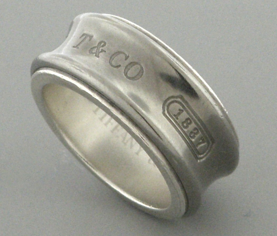 TIFFANY & Co. STERLING SILVER TITANIUM 1837 RING BAND