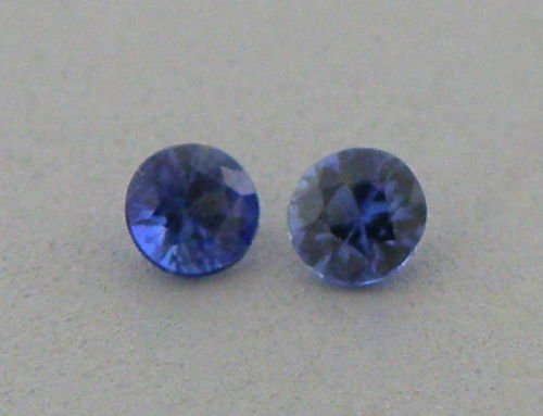 3.4mm MATCHING PAIR ROUND UNTREATED BLUE SAPPHIRE