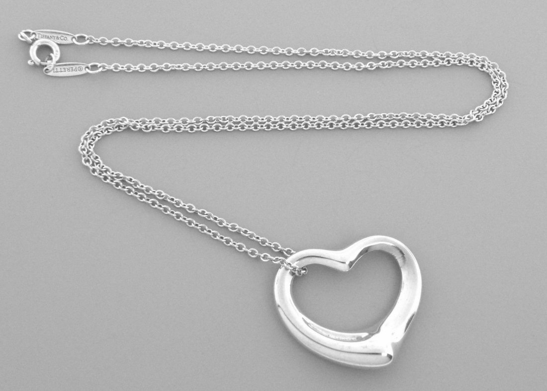 TIFFANY & Co. STERLING SILVER OPEN HEART CHAIN NECKLACE - 2