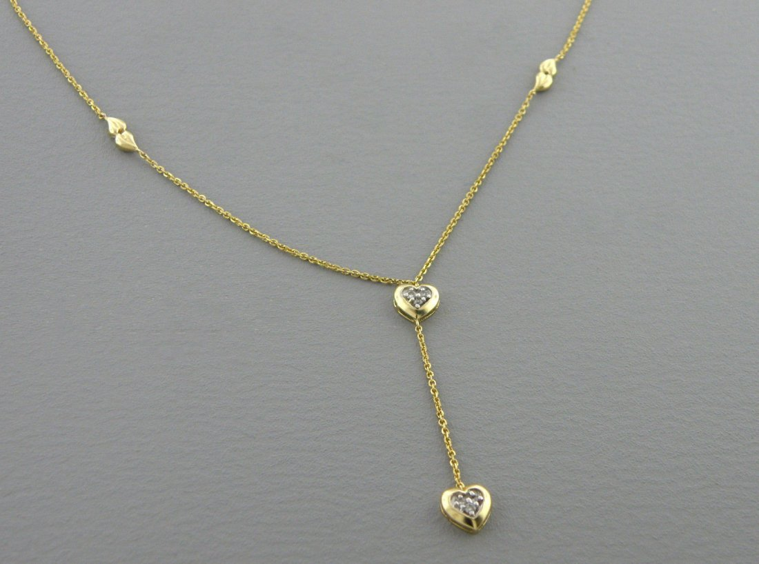 14K YELLOW GOLD DIAMOND HEART DANGLE DROP NECKLACE