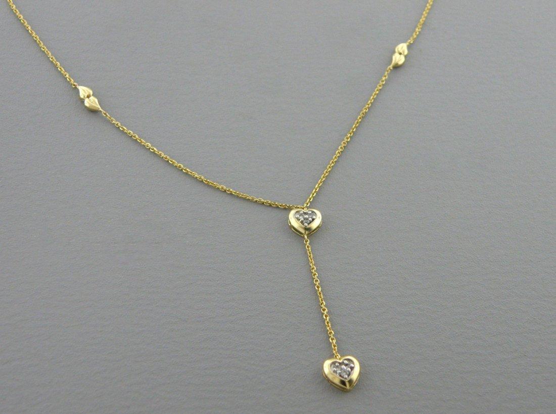 14K YELLOW GOLD DIAMOND HEART DANGLE DROP NECKLACE