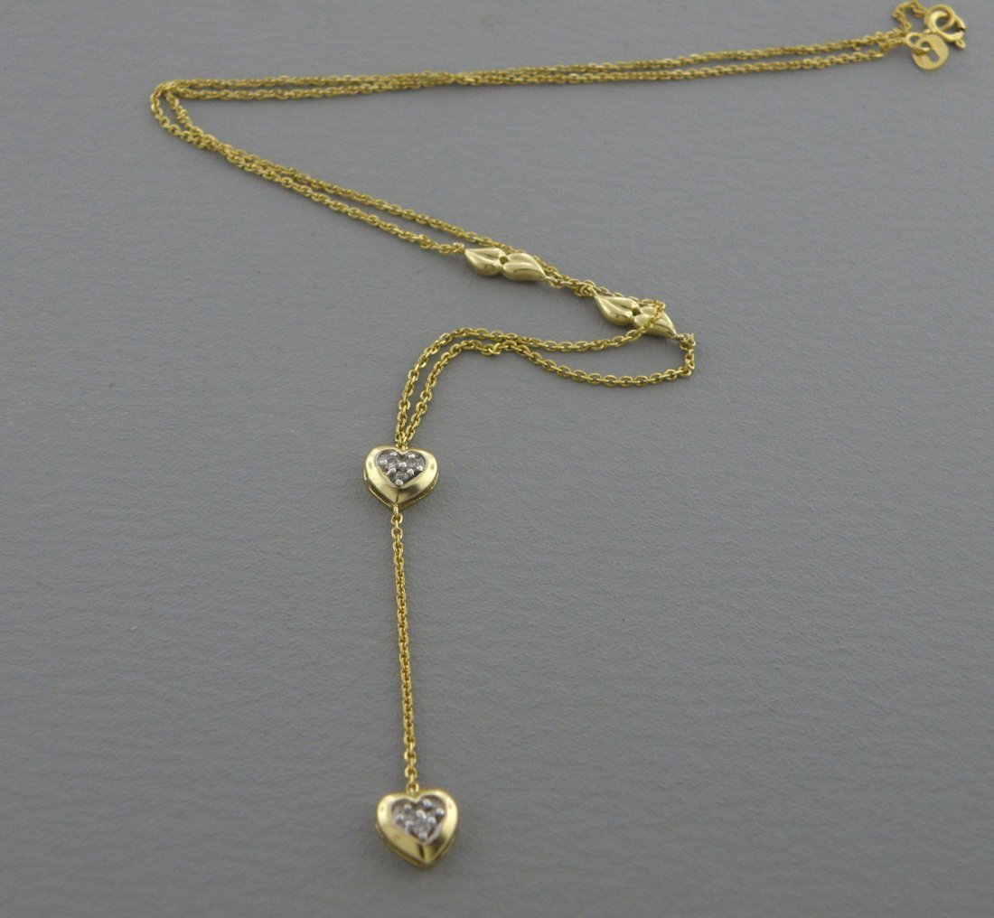 14K YELLOW GOLD DIAMOND HEART DANGLE DROP NECKLACE - 2