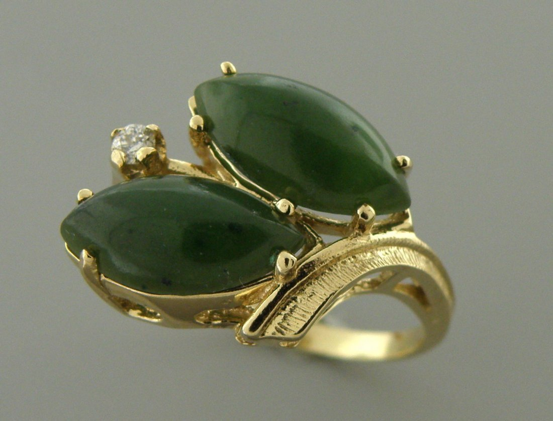 VINTAGE 14K Y/ GOLD DIAMOND GREEN JADE COCKTAIL RING