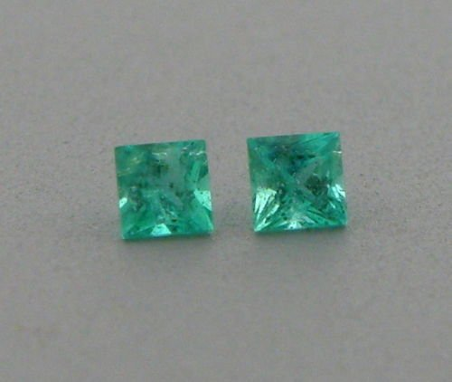 2.8mm MATCHING PAIR PRINCESS CUT COLOMBIAN EMERALD