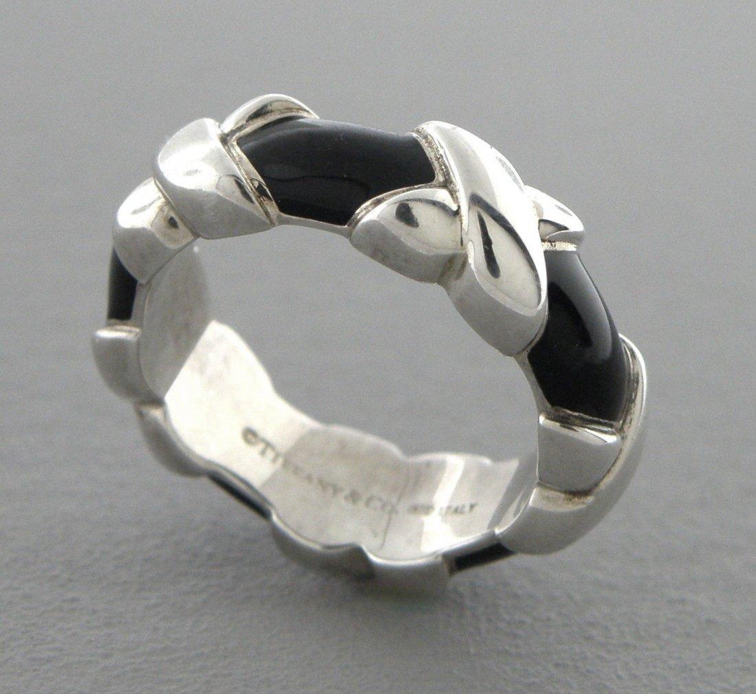 TIFFANY & Co. STERLING SILVER BLACK ENAMEL WIDE X RING