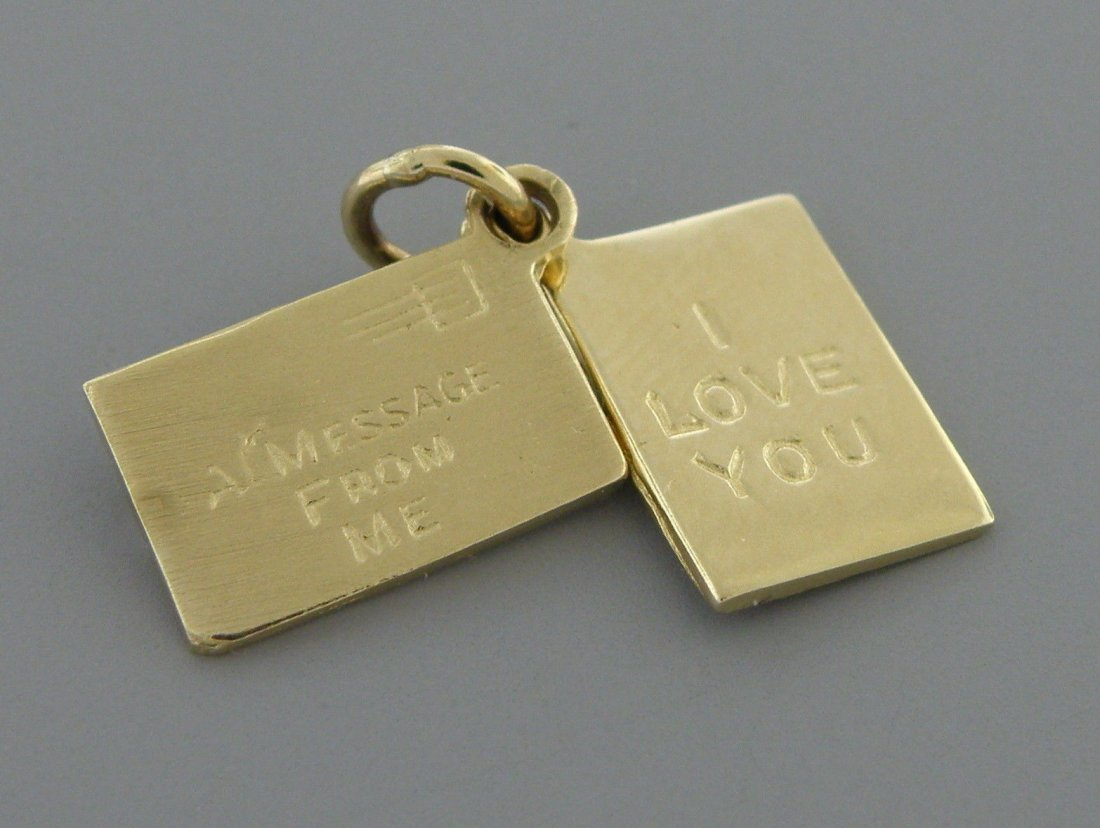VINTAGE 14K ENVELOPE MESSAGE I LOVE YOU PENDANT CHARM - 2