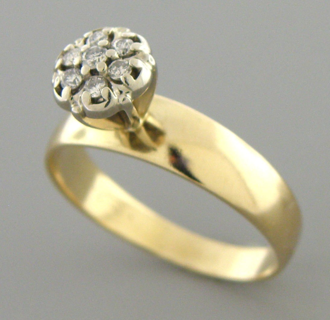 VINTAGE 14K YELLOW GOLD DIAMOND CLUSTER ENGAGEMENT RING