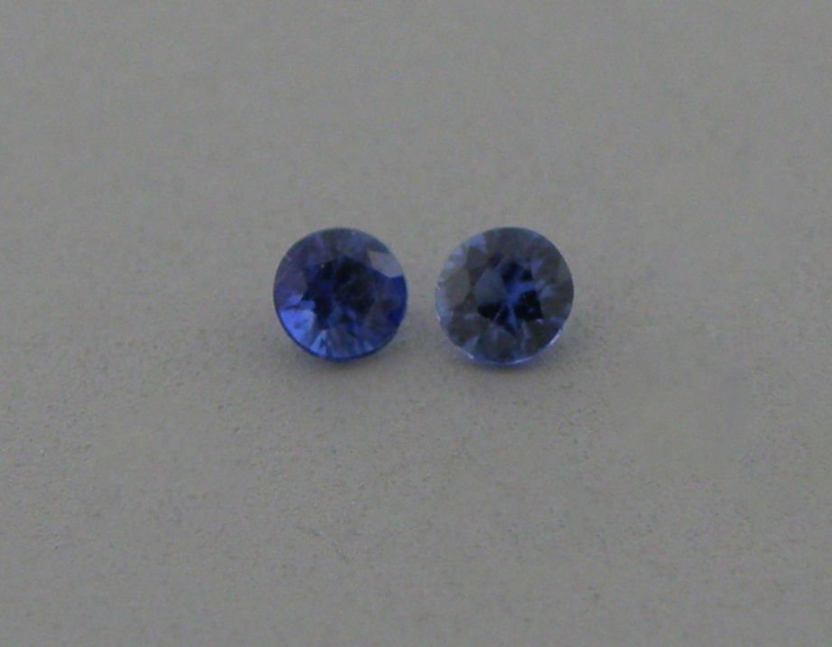3.2mm MATCHING PAIR ROUND UNTREATED BLUE SAPPHIRE