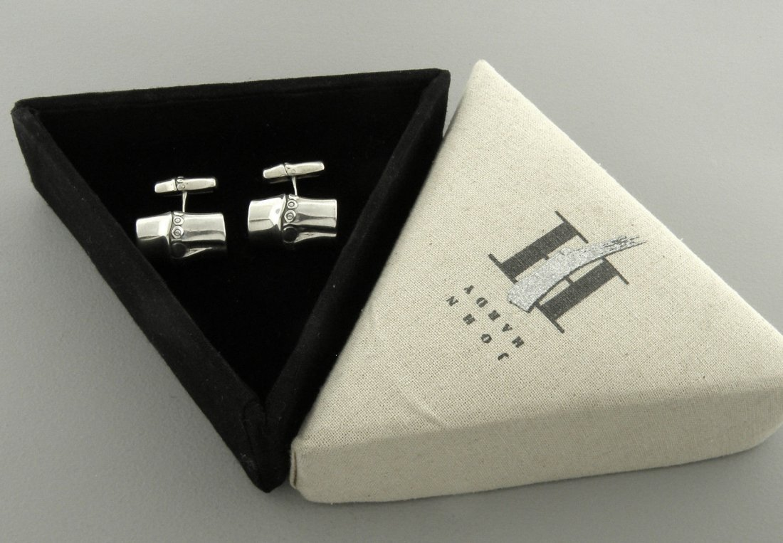 JOHN HARDY STERLING SILVER BAMBOO CUFFLINKS WITH BOX