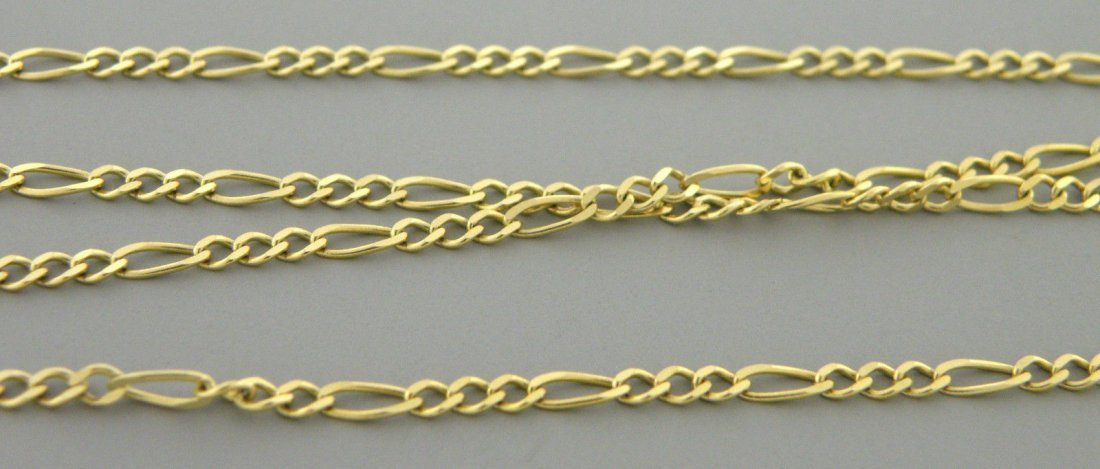 "NEW 14K Y/ GOLD CHAIN, 18"" UNISEX FIGARO NECKLACE 2mm"