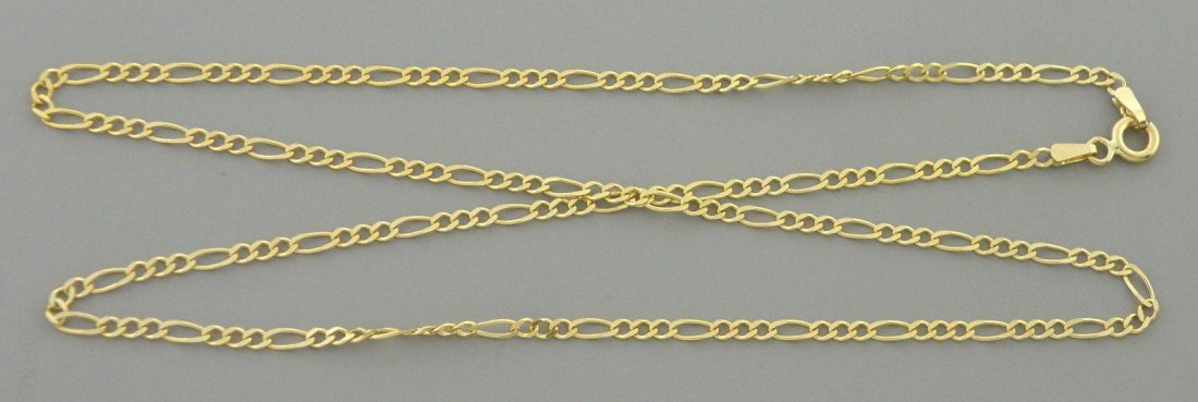 "14K YELLOW GOLD CHAIN, 16"" UNISEX FIGARO NECKLACE 2mm"