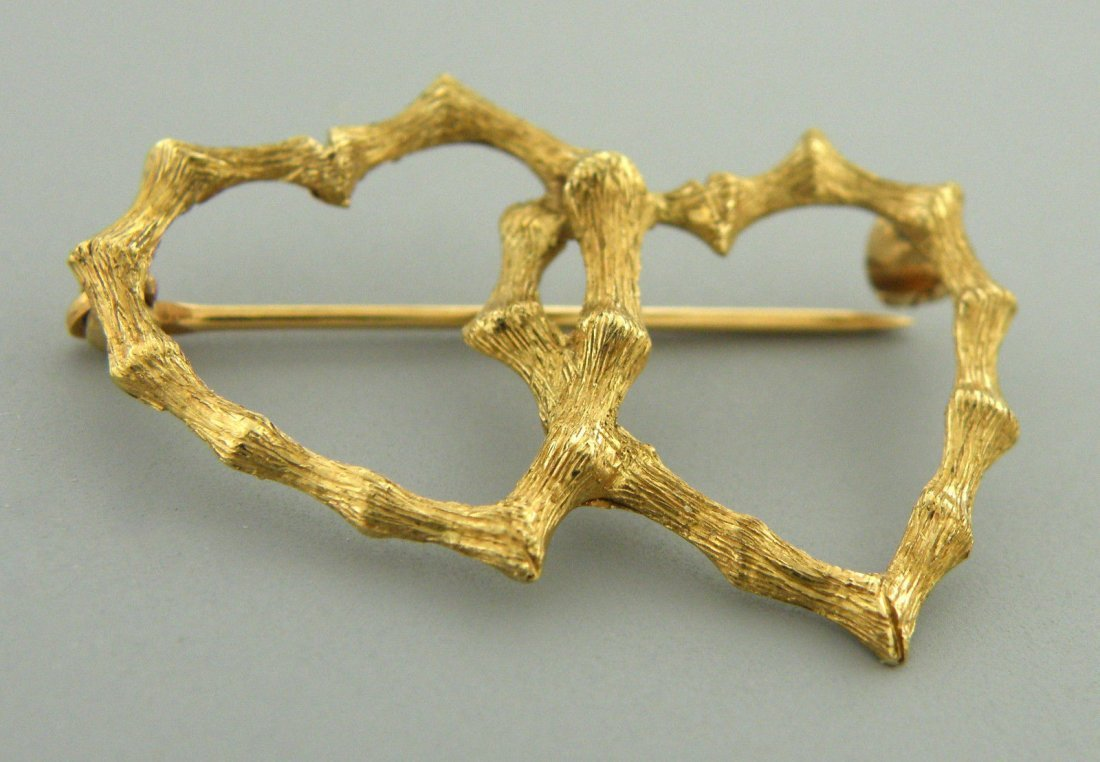 VINTAGE 14K YELLOW GOLD BAMBOO DOUBLE HEART BROOCH PIN