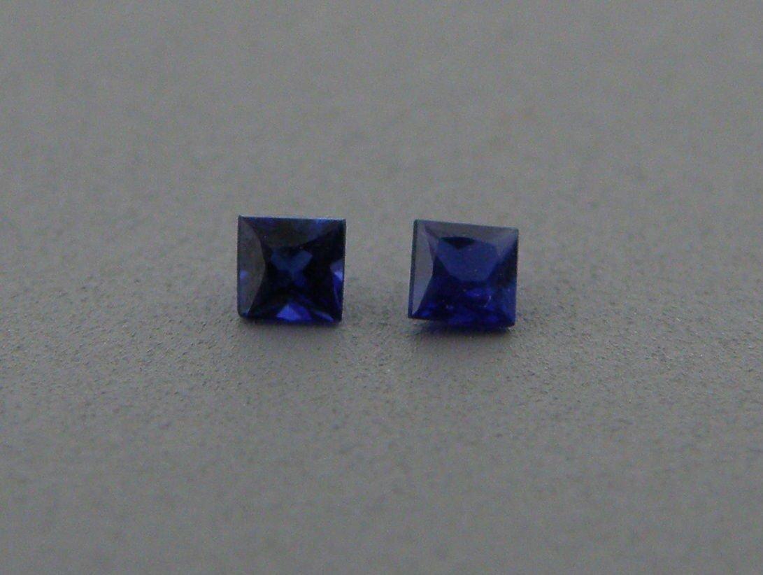 2.8mm PRINCESS CUT MATCHING PAIR NATURAL BLUE SAPPHIRE