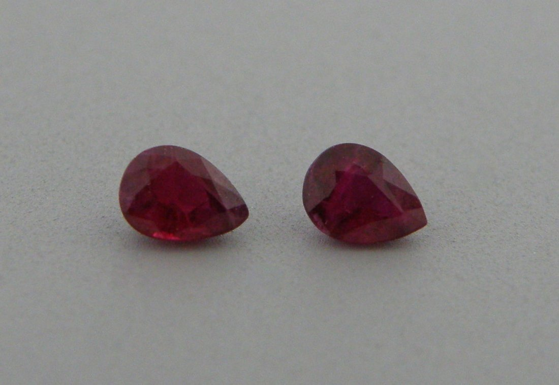 5x3mm MATCHING PAIR PEAR NATURAL PIGEON BLOOD RUBY
