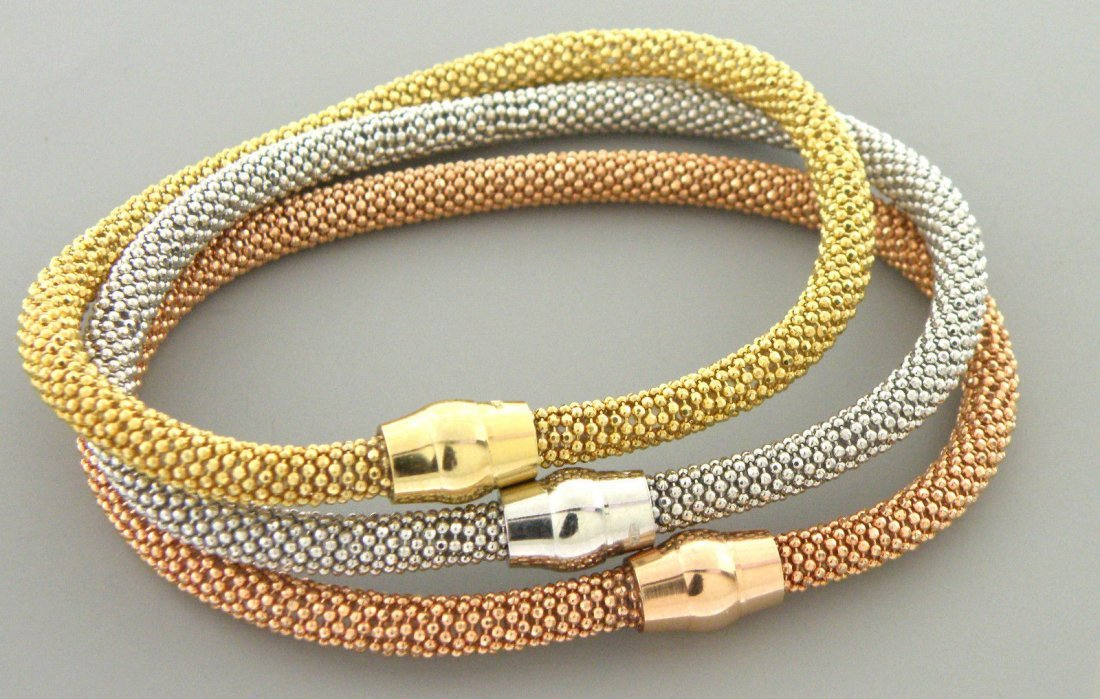 NEW 3 STERLING SILVER FLEXIBLE TRI-COLOR LADIES BANGLE
