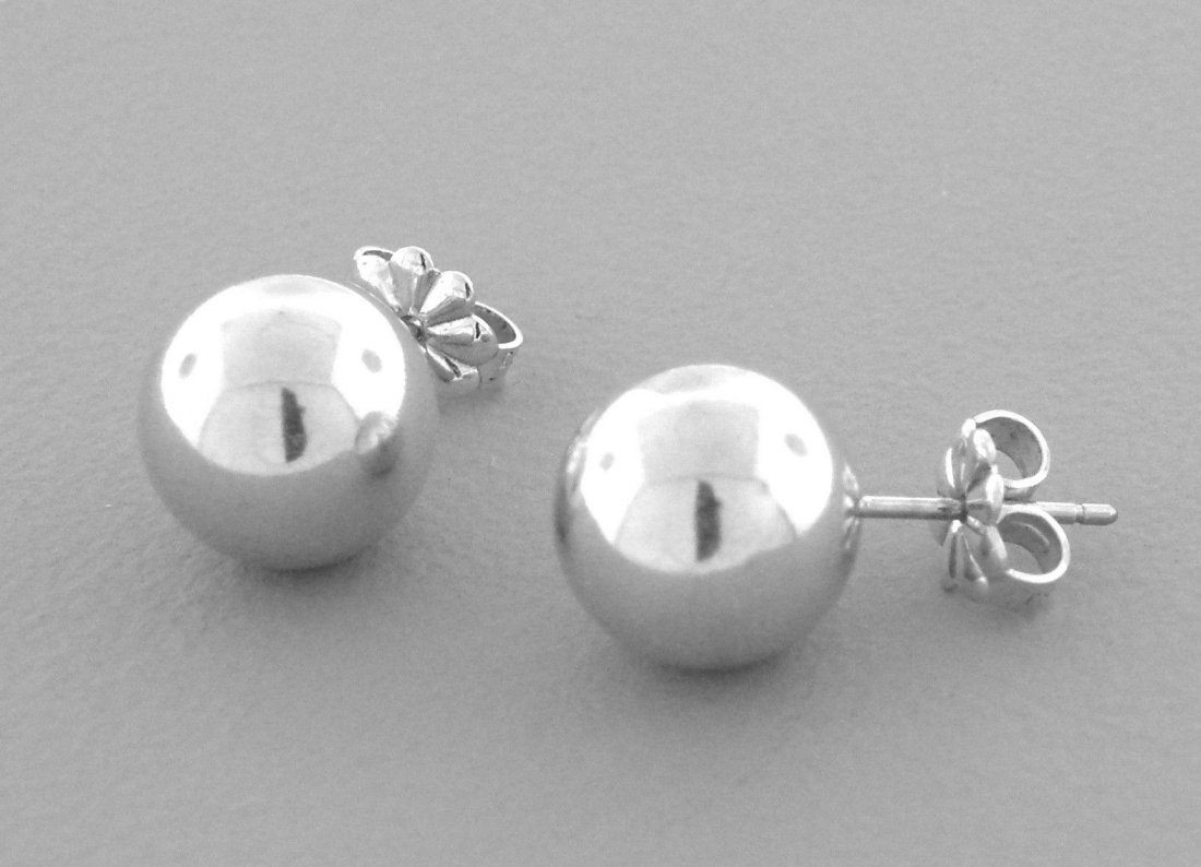 TIFFANY & Co. STERLING SILVER 10MM BEAD STUD EARRINGS