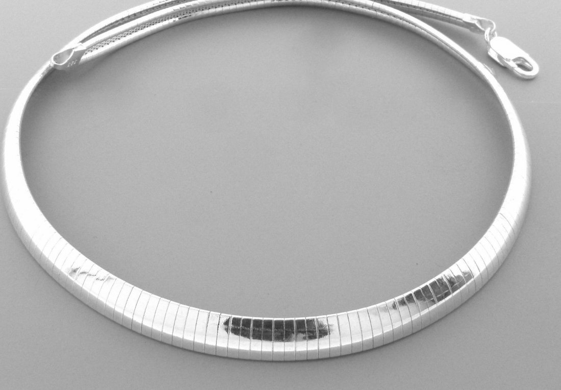 STERLING SILVER HEAVY OMEGA CHOKER NECKLACE 8MM 18""