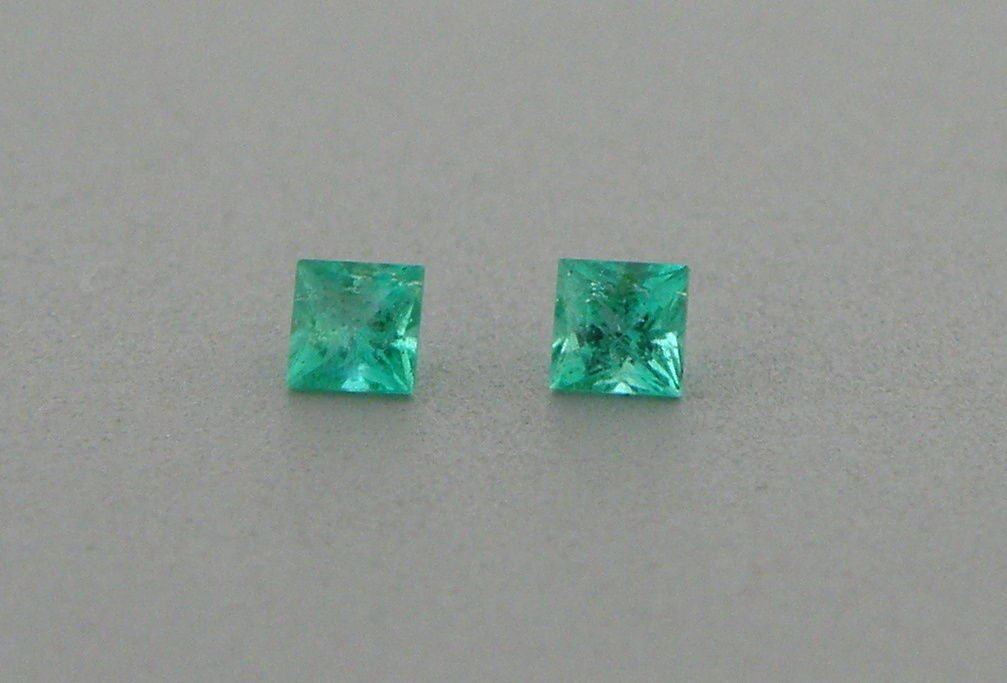 2.2mm MATCHING PAIR PRINCESS CUT COLOMBIAN EMERALD