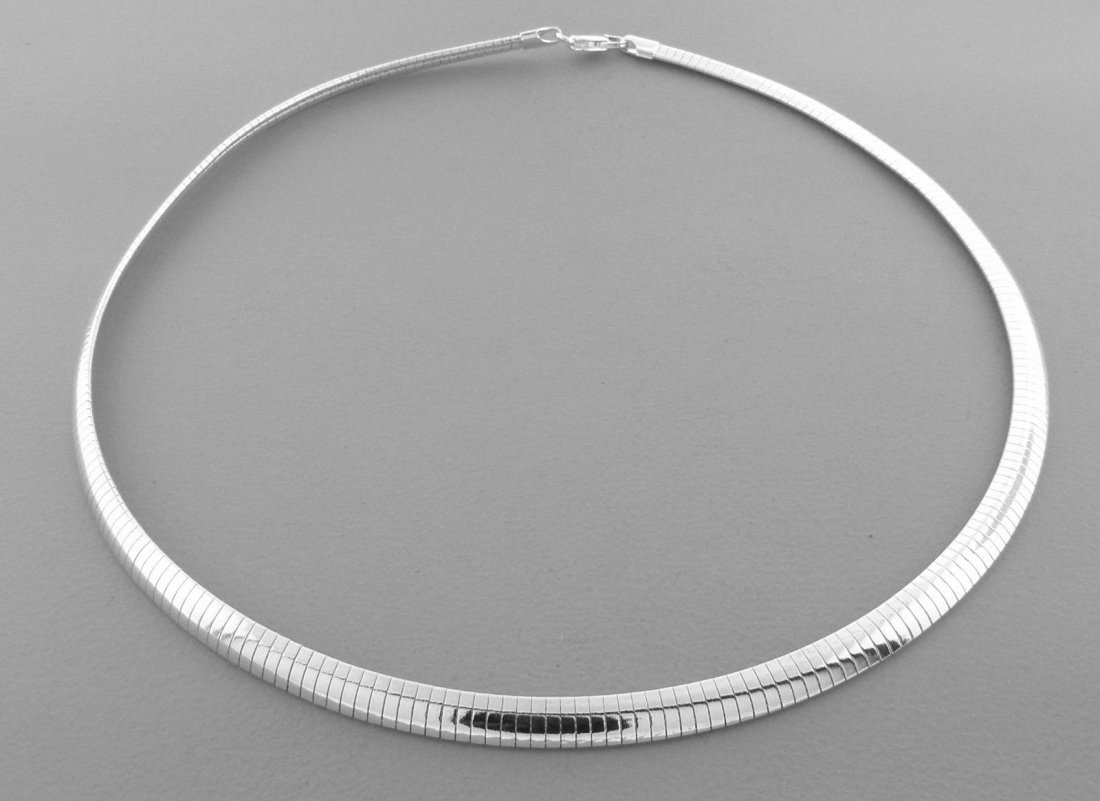 STERLING SILVER HEAVY OMEGA CHOKER PENDANT NECKLACE 18""