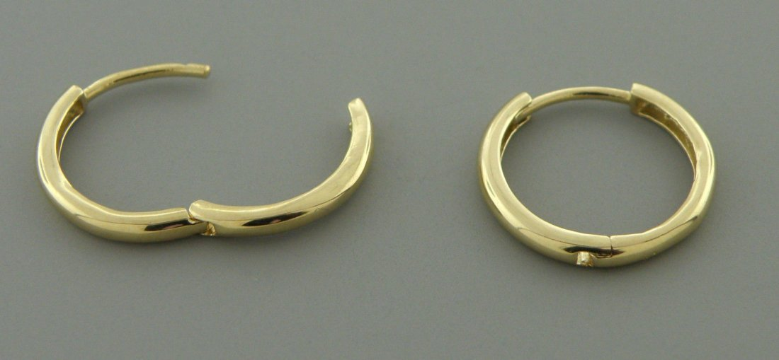 14K Y/ GOLD HUGGIE HOOP EARRINGS 2mm SNAP EARRINGS