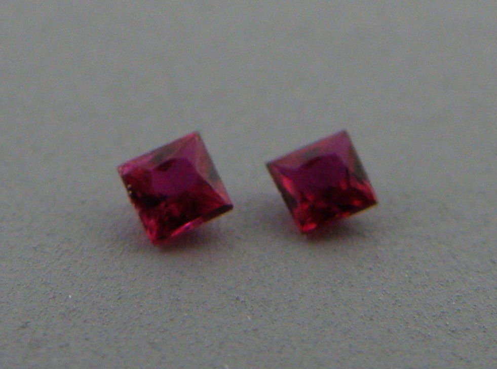 2.5mm MATCHING PAIR PRINCESS CUT NATURAL RED RUBY