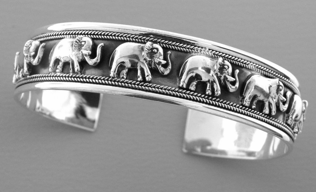 NEW STERLING SILVER ELEPHANT ROPE CUFF UNISEX BANGLE