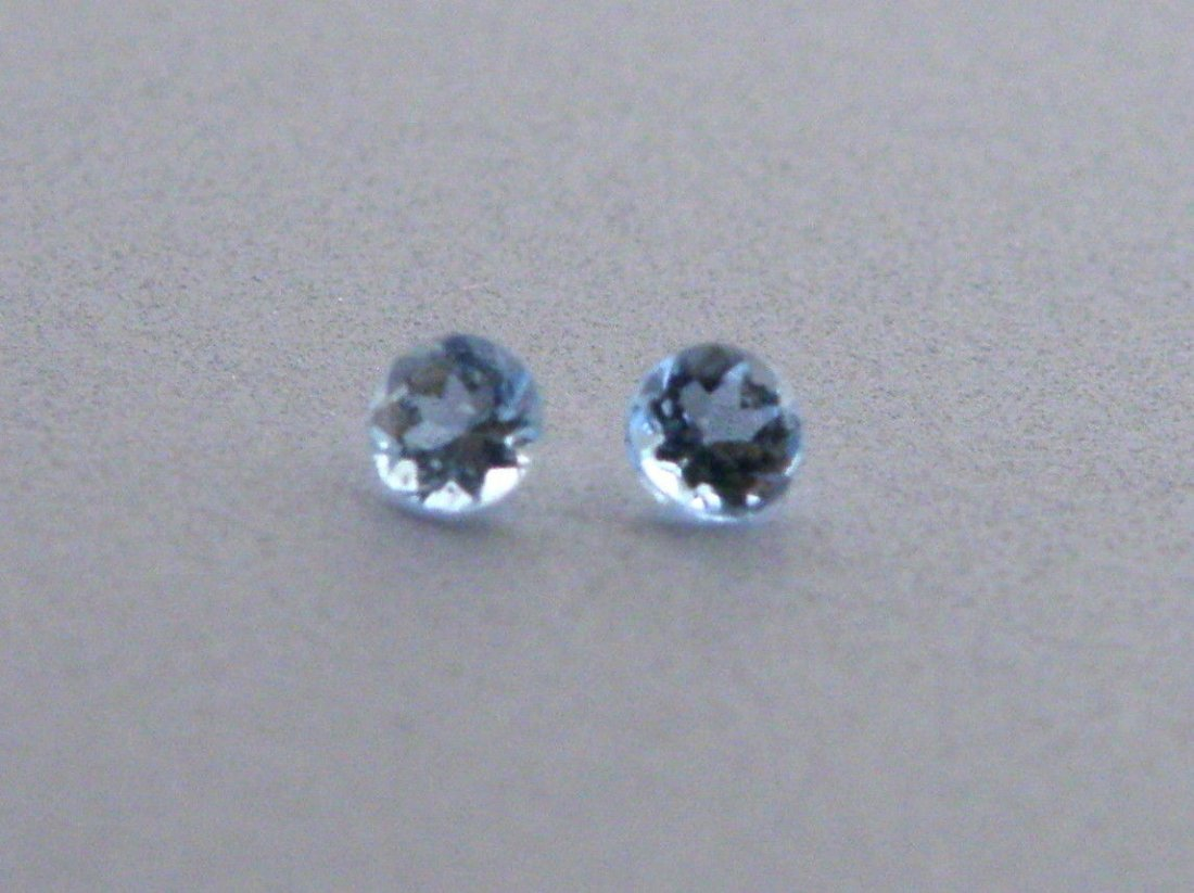 4mm MATCHING PAIR ROUND CUT NATURAL BLUE AQUAMARINE