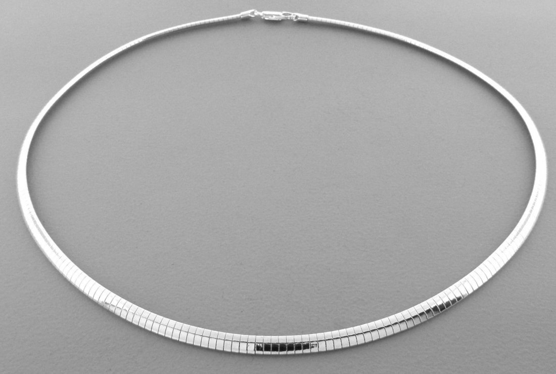 STERLING SILVER HEAVY OMEGA CHOKER PENDANT NECKLACE 4MM