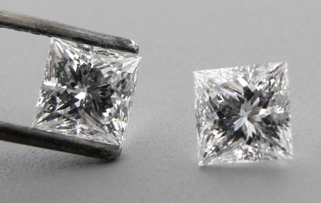 4mm MATCHING PAIR PRINCESS CUT UNTREATED DIAMOND F VVS1
