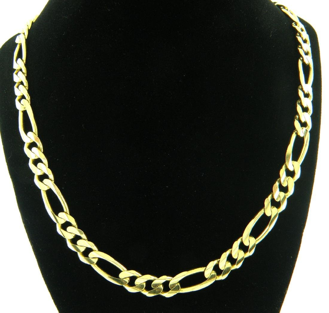 "14K YELLOW GOLD CHAIN, 24"" UNISEX FIGARO NECKLACE 9.5mm"