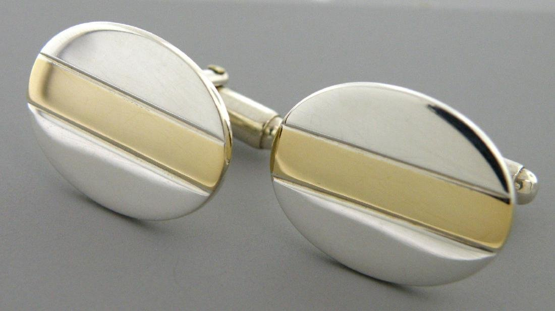 TIFFANY & Co. 18K STERLING SILVER OVAL BAR CUFFLINKS