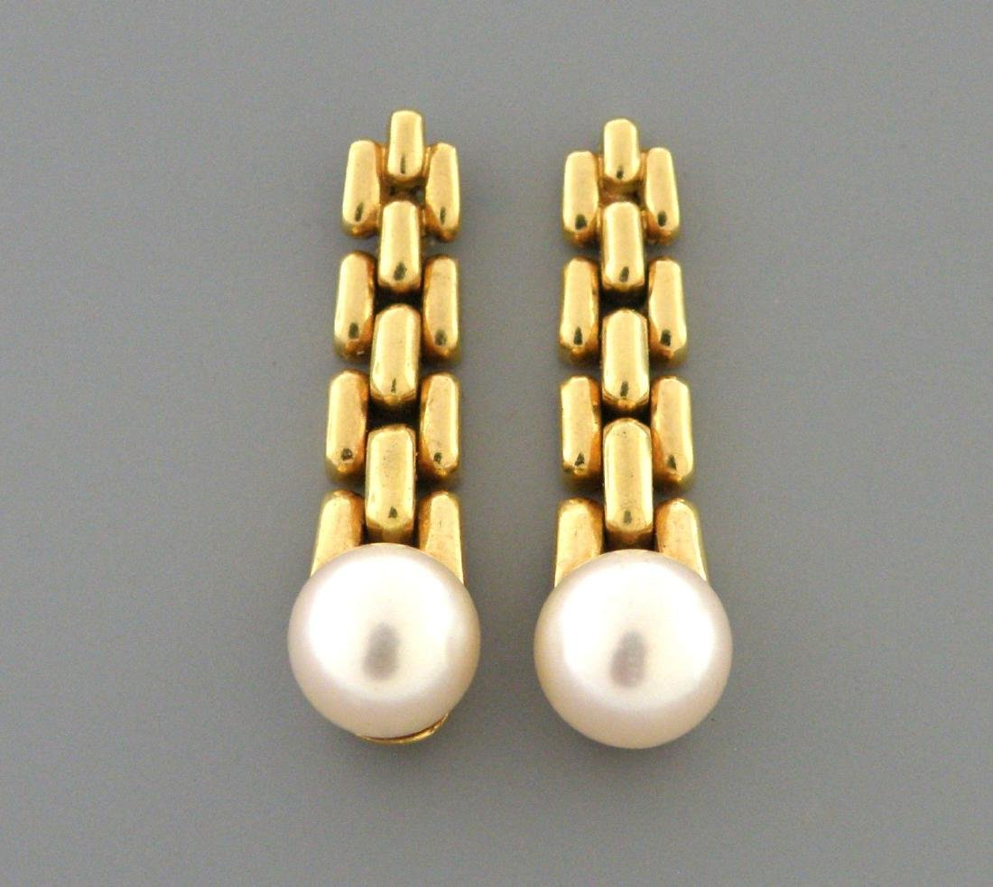 CARTIER 18K YELLOW GOLD 8mm PEARL EARRINGS DANGLE