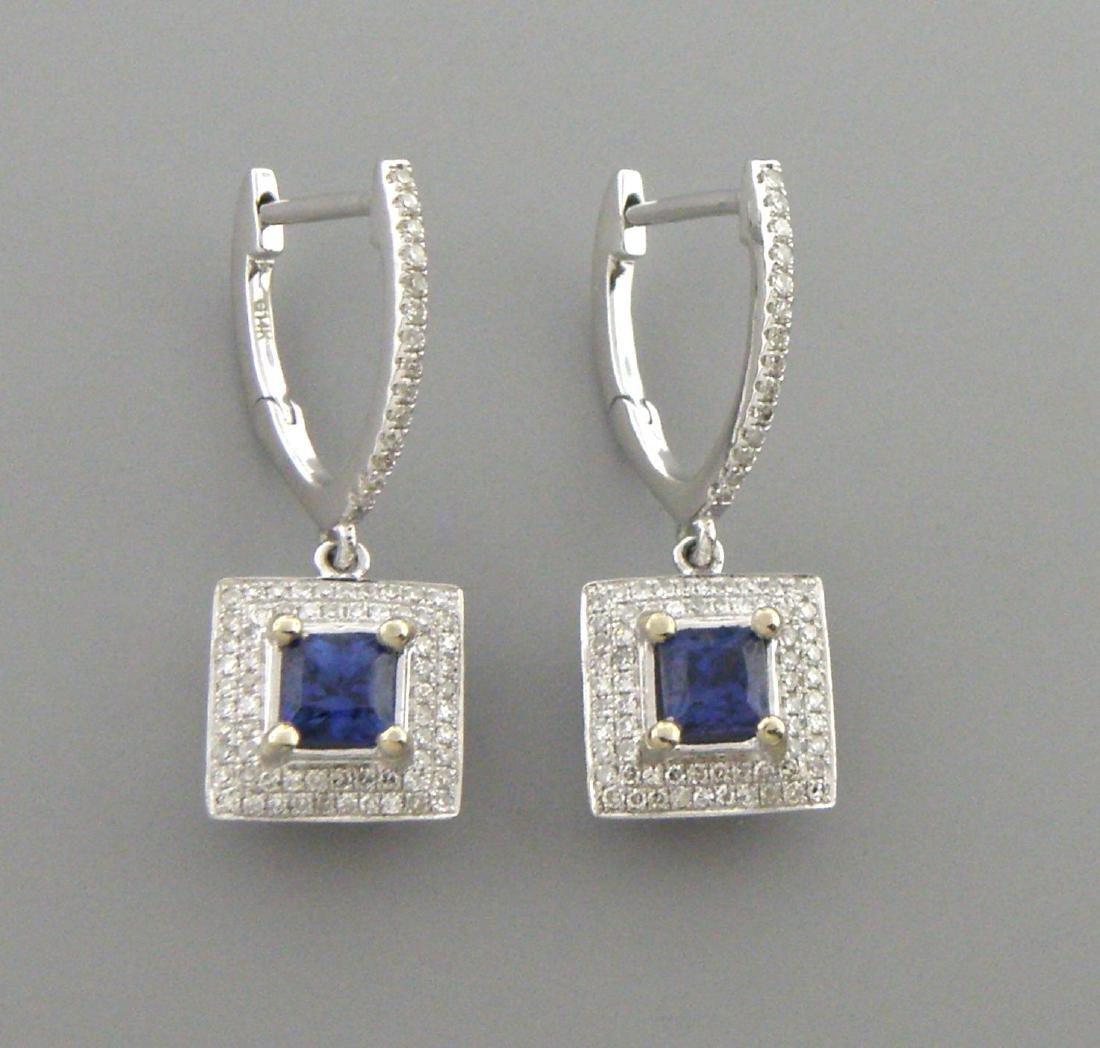 14K WHITE GOLD DIAMOND NATURAL BLUE SAPPHIRE EARRINGS