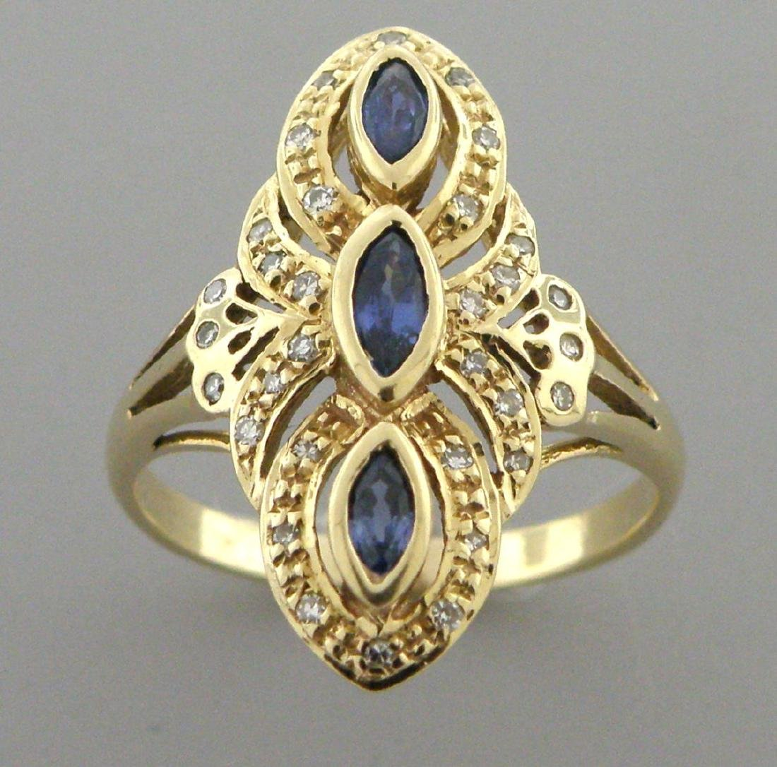 VINTAGE 14K YELLOW GOLD BLUE SAPPHIRE DIAMOND RING
