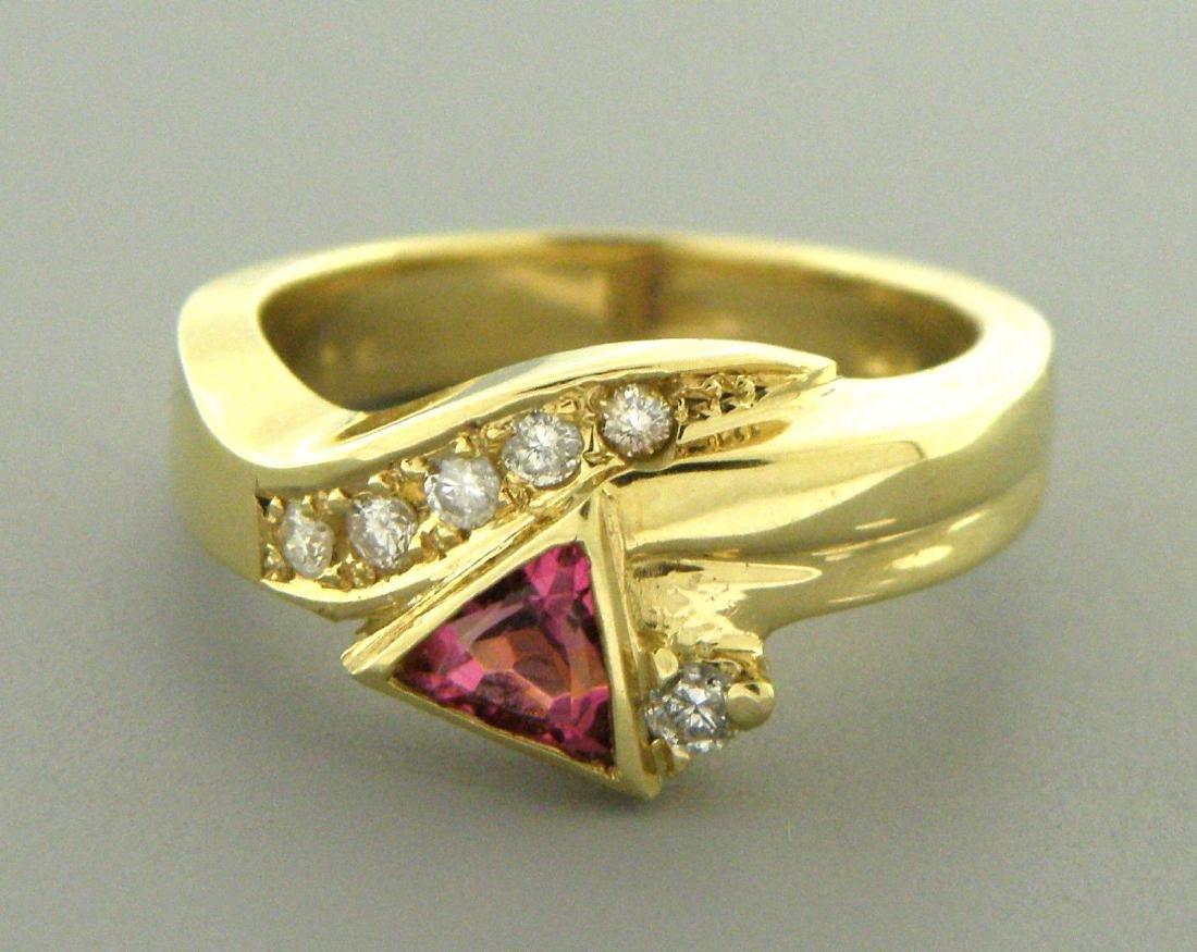 SOLID 14K YELLOW GOLD DIAMOND PINK TOURMALINE RING